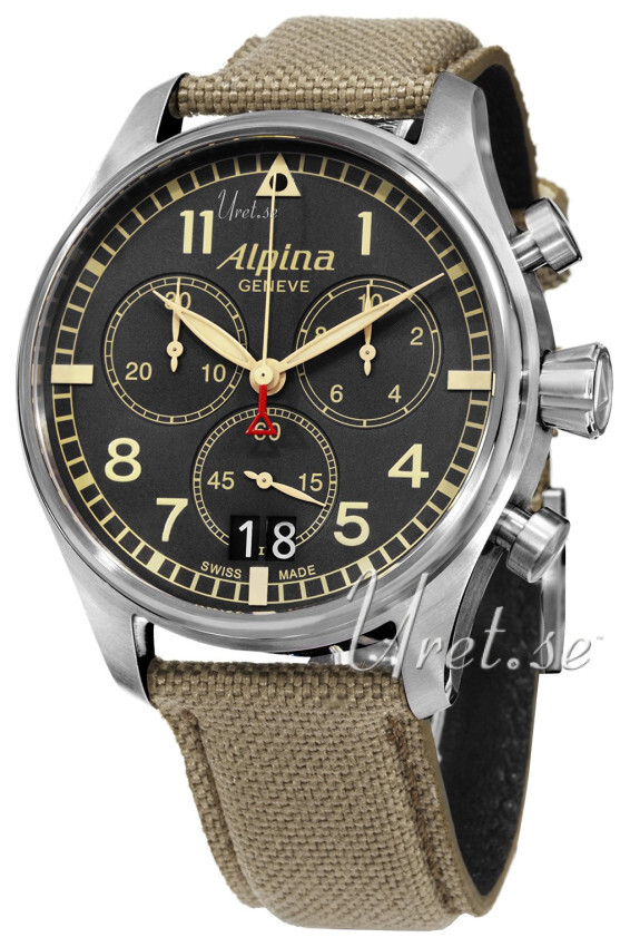 Alpina Startimer Herreklokke AL-372BGR4S6 Grå/Lær Ø44 mm - Alpina