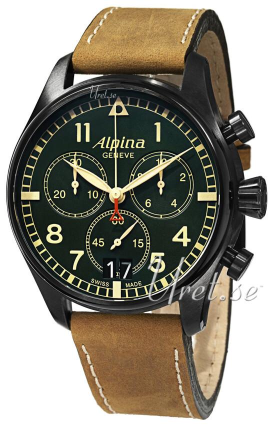 Alpina Startimer Herreklokke AL-372GR4FBS6 Grønn/Lær Ø44 mm - Alpina