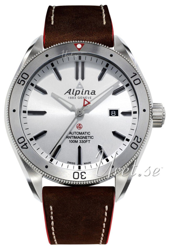Bilde av Alpina Alpiner Herreklokke Al-525ss5aq6 Sølvfarget/lær Ø44 Mm