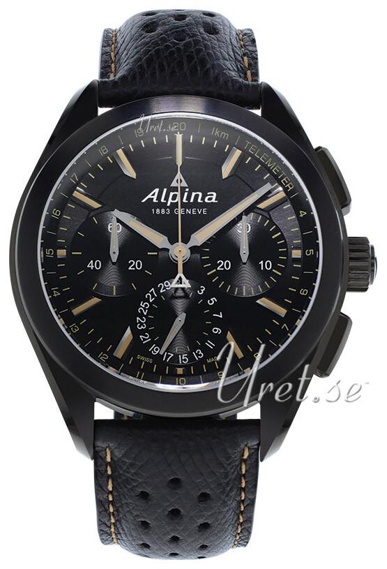 Alpina Alpiner Herreklokke AL-760BBG5FBAQ6 Sort/Lær Ø44 mm - Alpina