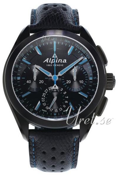 Alpina Alpiner Herreklokke AL-760BN5FBAQ6 Sort/Lær Ø44 mm - Alpina