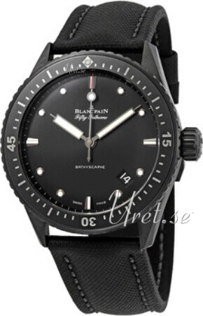 Blancpain Fifty Fathoms Herreklokke 5000-0130-B52A Sort/Lær Ø43.6 mm - Blancpain