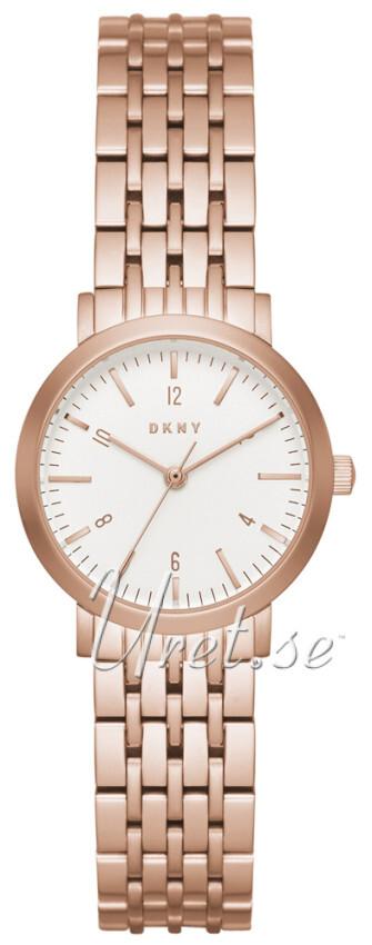 DKNY Crystal Dameklokke NY2511 Hvit/Rose-gulltonet stål Ø28 mm - DKNY