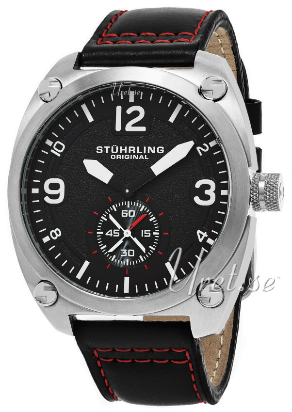 Stührling Original Aviator Tuskegee Herreklokke 581.02 Sort/Lær - Stührling Original