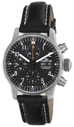 Fortis Flieger Sort/Lær Ø40 mm 597.22.11.L01