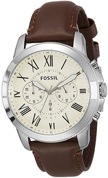 Fossil Dress Antikk hvit/Lær Ø44 mm FS4735
