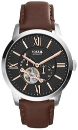 Fossil Mechanical Sort/Lær Ø44 mm ME3061