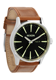 Nixon The Sentry Leather Sort/Lær Ø42 mm A1051037-00