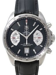 TAG Heuer Grand Carrera Calibre 17 Automatic Chronograph Sort/Lær Ø43 mm CAV511A.FC6225