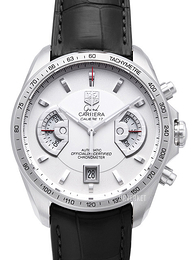 TAG Heuer Grand Carrera Calibre 17 Automatic Chronograph Hvit/Lær Ø43 mm CAV511B.FC6225