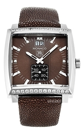 TAG Heuer Monaco Grande Date Diamond Dial And Case Brun/Lær 37.5x37.5 mm WAW1316.EB0025