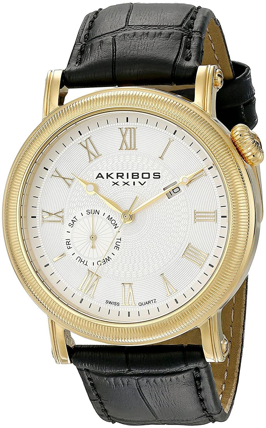 Akribos XXIV Multi-Function Herreklokke AK673YG Hvit/Lær Ø45 mm - Akribos XXIV