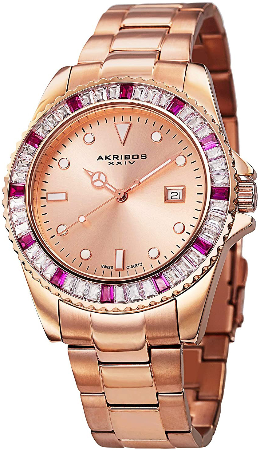 Akribos XXIV Crystal AK702RG Rosegullfarget/Rose-gulltonet stål Ø40 - Akribos XXIV
