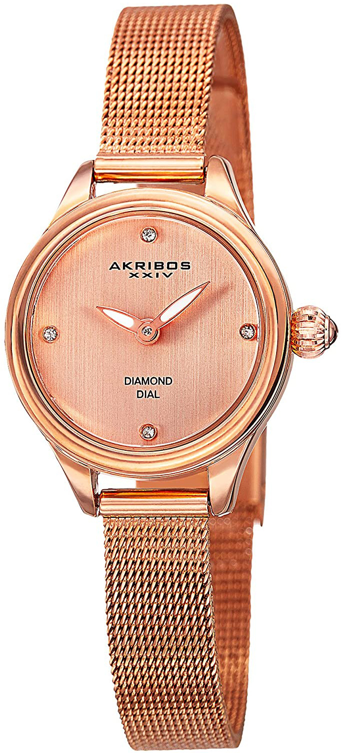 Akribos XXIV Diamond Dameklokke AK873RG Rosegullfarget/Rose-gulltonet - Akribos XXIV