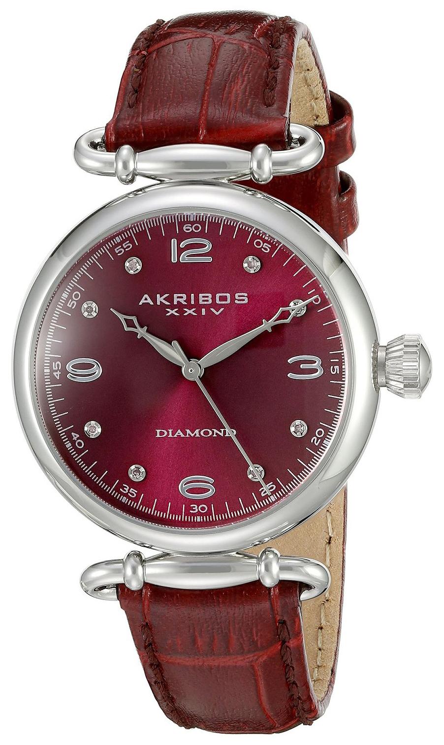 Akribos XXIV Diamond Dameklokke AK878BUR Rød/Lær Ø35 mm - Akribos XXIV