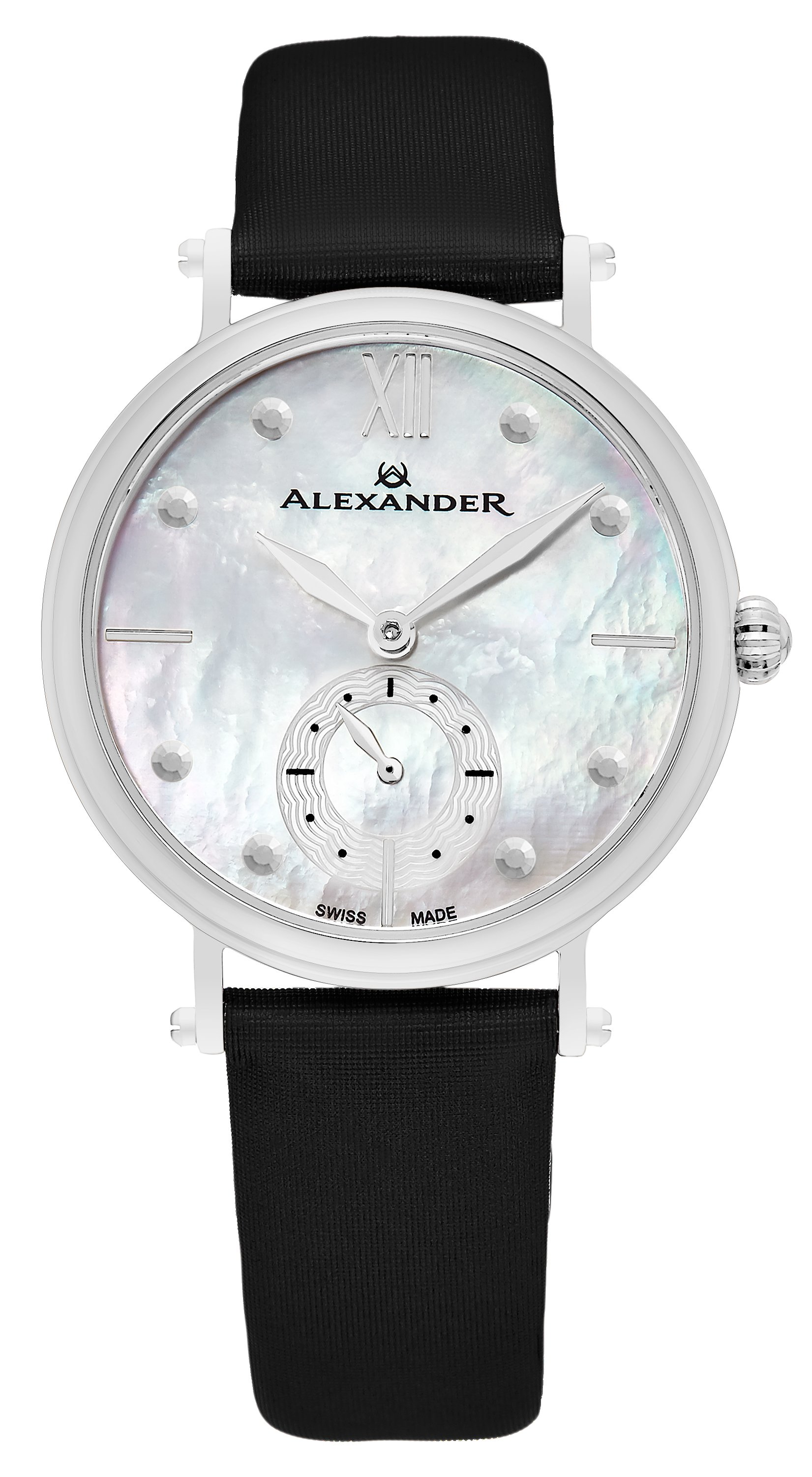 Alexander Monarch Dameklokke A201-01 Hvit/Sateng Ø34 mm - Alexander