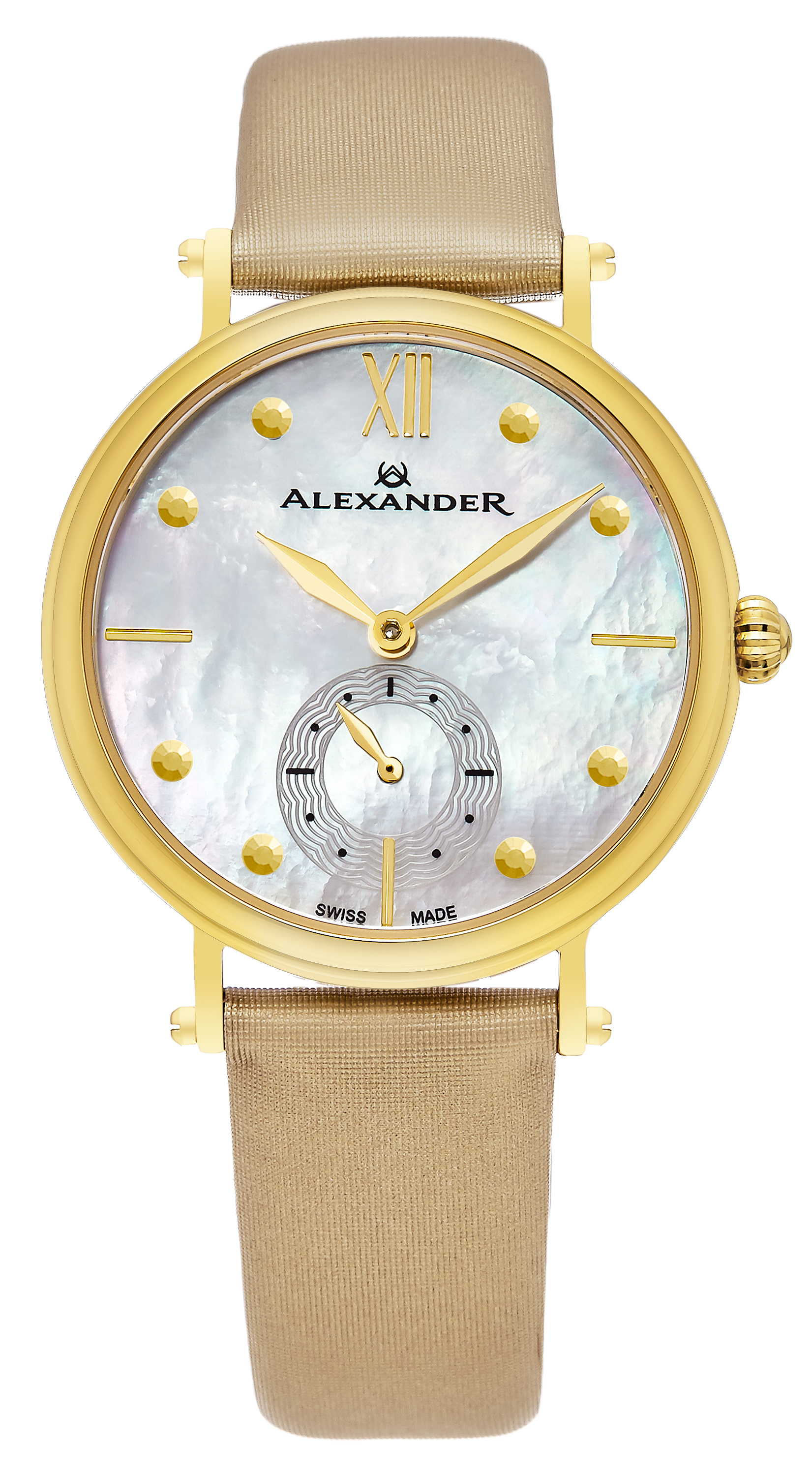 Alexander Monarch Dameklokke A201-02 Hvit/Sateng Ø34 mm - Alexander