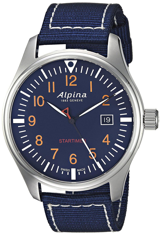 Alpina Startimer Herreklokke AL-240N4S6 Blå/Tekstil Ø42 mm - Alpina