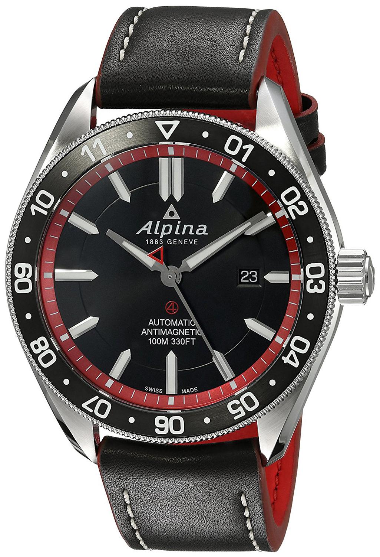Alpina Alpiner Herreklokke AL-525BR5AQ6 Sort/Lær Ø44 mm - Alpina