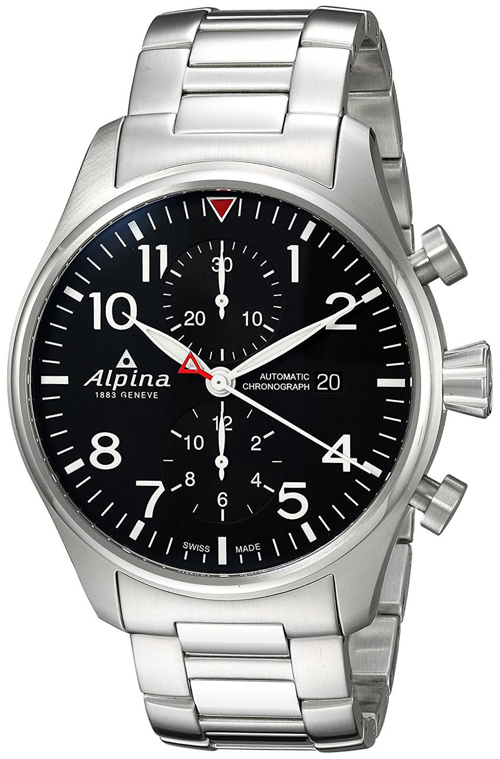 Alpina Startimer Herreklokke AL-725B4S6B Sort/Stål Ø44 mm - Alpina