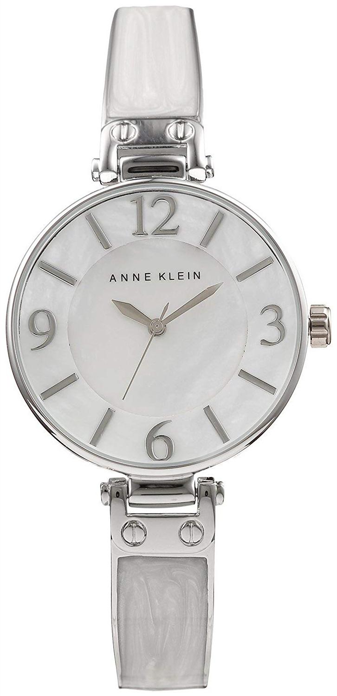 Anne Klein Bangle Dameklokke AK/2211WTSV Hvit/Stål Ø34 mm - Anne Klein