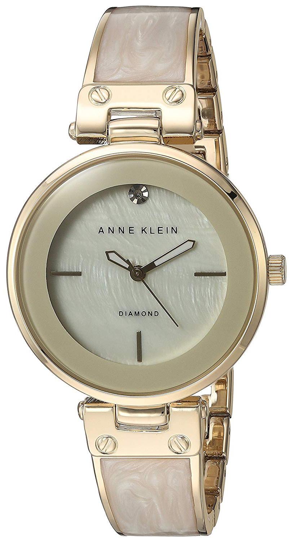 Anne Klein Diamond Dameklokke AK/2512IVGB Hvit/Gulltonet stål Ø34 mm - Anne Klein