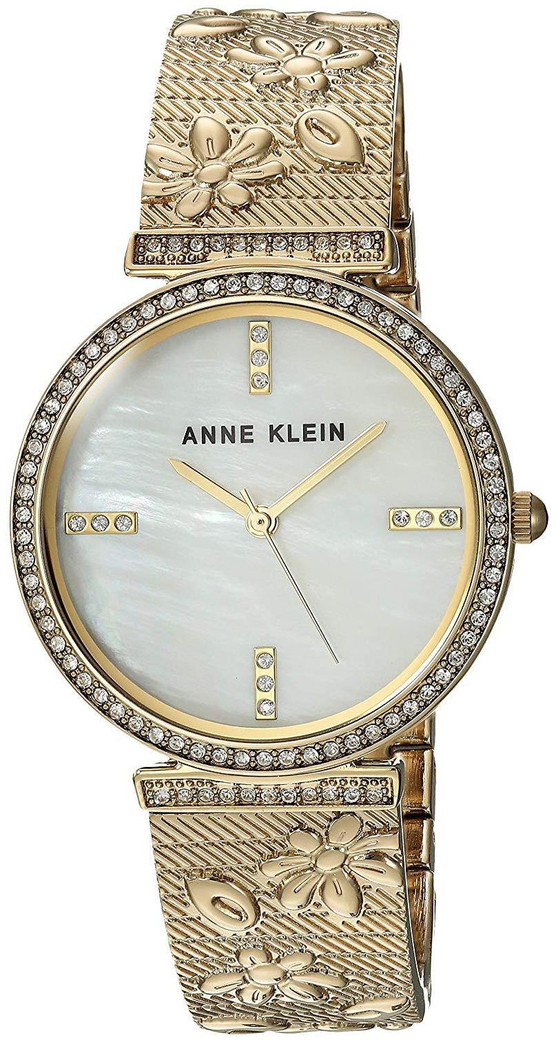 Anne Klein Crystal Dameklokke AK/3146MPGB Hvit/Gulltonet stål Ø32 mm - Anne Klein