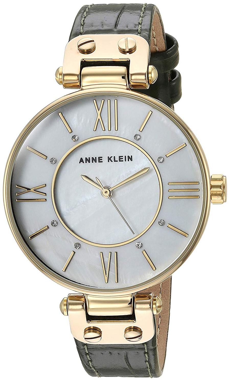 Anne Klein Leather Dameklokke AK/3228MPOL Hvit/Gulltonet stål Ø34 mm - Anne Klein