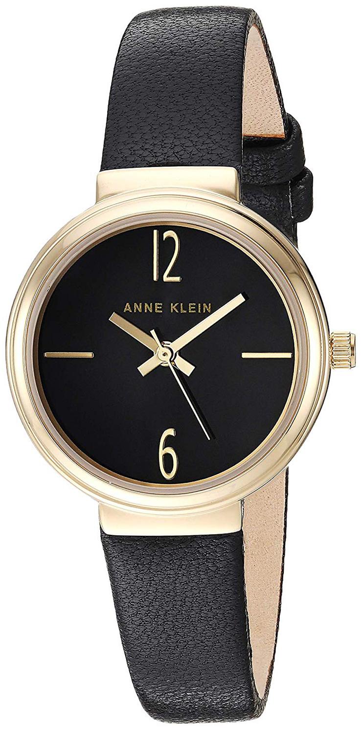 Anne Klein Leather Dameklokke AK/3230BKBK Sort/Lær Ø28 mm - Anne Klein