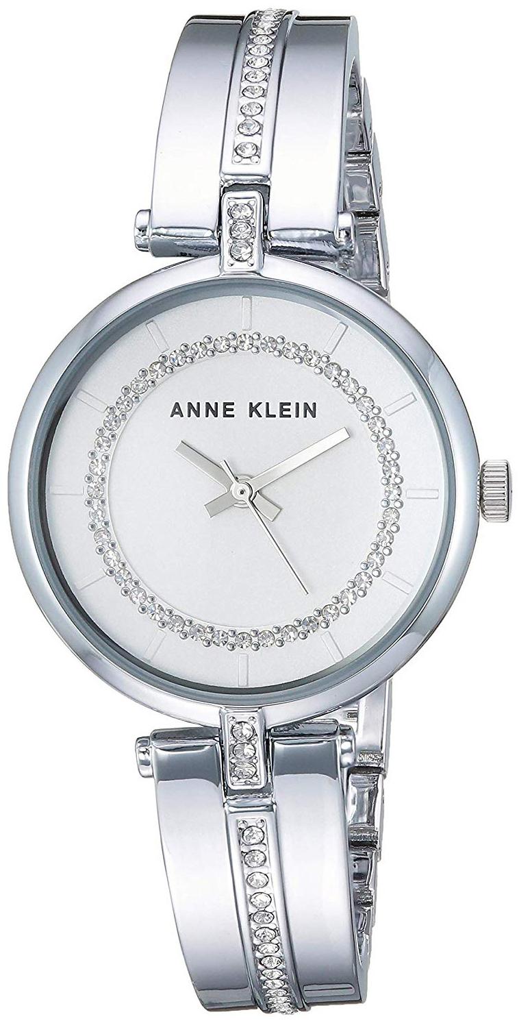 Anne Klein Crystal Dameklokke AK/3249SVSV Sølvfarget/Stål Ø30 mm - Anne Klein