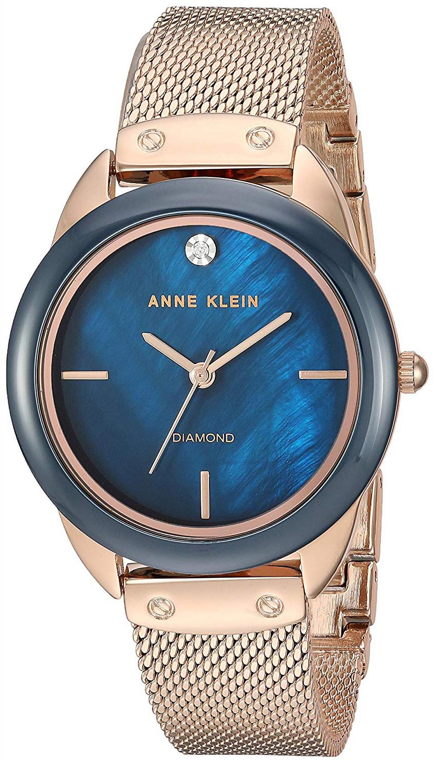 Anne Klein Diamond Dameklokke AK/3258NVRG Blå/Rose-gulltonet stål - Anne Klein
