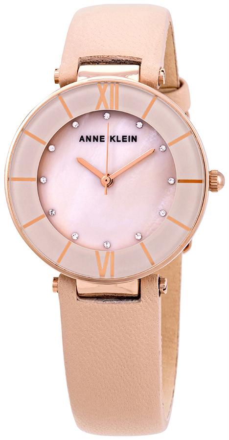 Anne Klein Crystal Dameklokke AK/3272RGLP Rosa/Lær Ø32 mm - Anne Klein