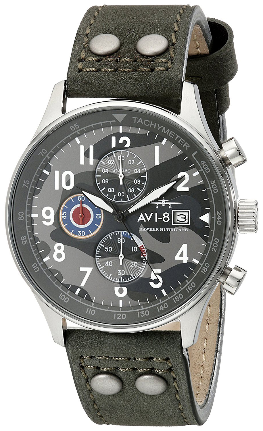AVI-8 Hawker Hurricane Herreklokke AV-4011-0A Flerfarget/Lær Ø42 mm - AVI-8
