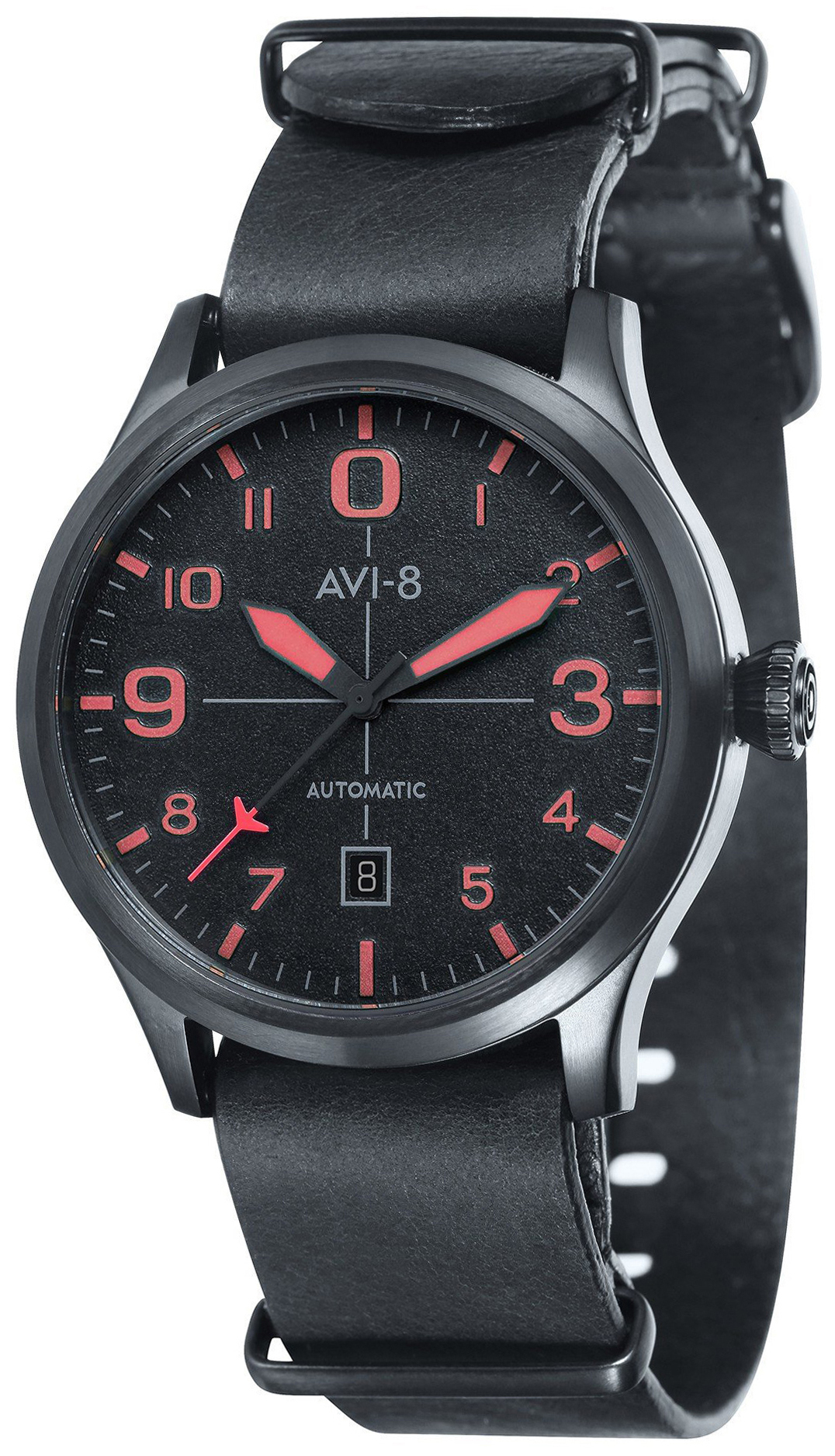 AVI-8 Flyboy Herreklokke AV-4021-0E Sort/Lær Ø43 mm - AVI-8