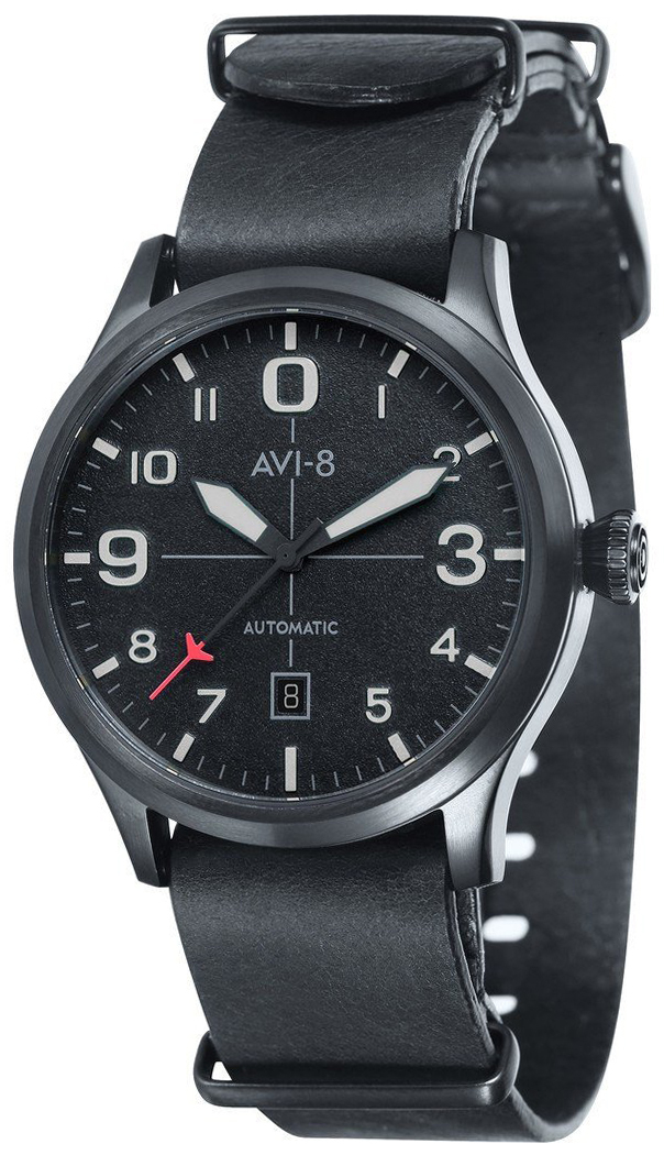 AVI-8 Flyboy Herreklokke AV-4021-0F Sort/Lær Ø43 mm - AVI-8