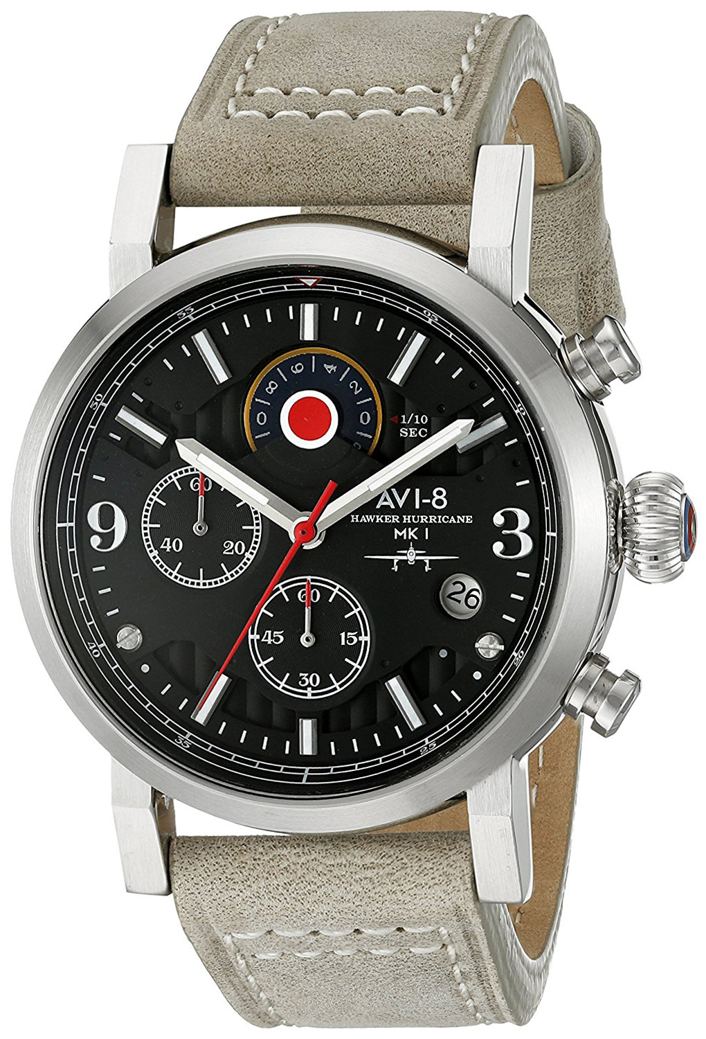 AVI-8 Hawker Hurricane Herreklokke AV-4041-02 Sort/Lær Ø42 mm - AVI-8