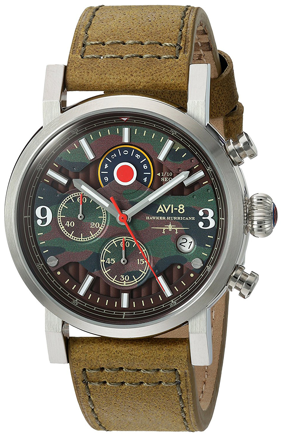 AVI-8 Hawker Hurricane Herreklokke AV-4041-06 Flerfarget/Lær Ø43 mm - AVI-8