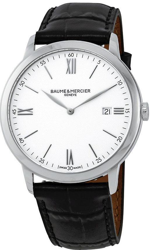 Baume & Mercier Classima Herreklokke M0A10323 Hvit/Lær Ø40 mm - Baume & Mercier