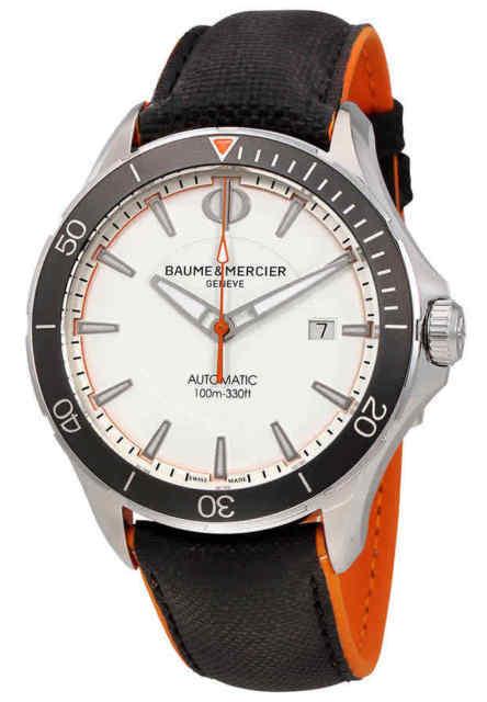 Baume & Mercier Clifton Herreklokke M0A10337 Hvit/Lær Ø42 mm - Baume & Mercier