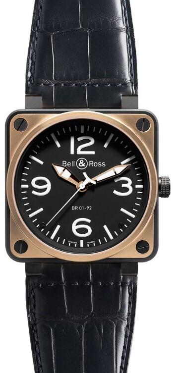 Bell & Ross BR 01-92 Herreklokke BR0192-BICOLOR Sort/Lær Ø46 mm - Bell & Ross