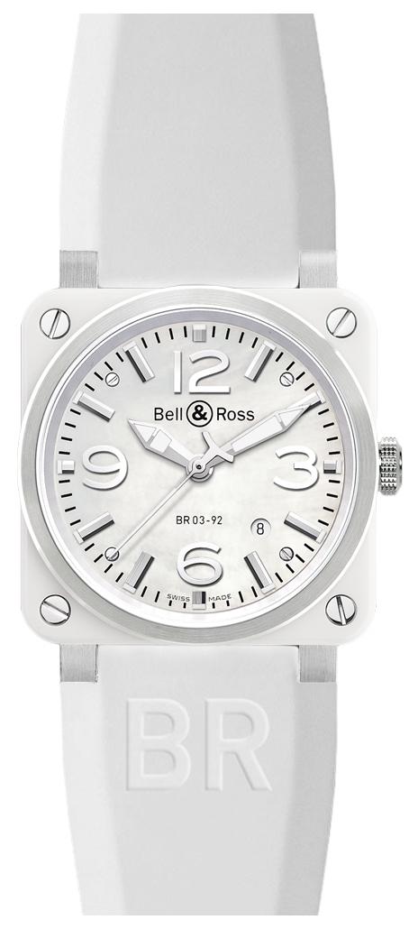 Bell & Ross BR 03-92 Herreklokke BR0392-WH-C-SRB Hvit/Gummi - Bell & Ross