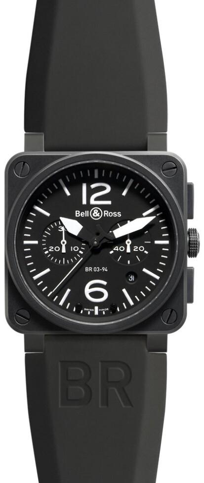 Bell & Ross BR 03-94 Herreklokke BR0394-BL-CA Sort/Gummi Ø42 mm - Bell & Ross