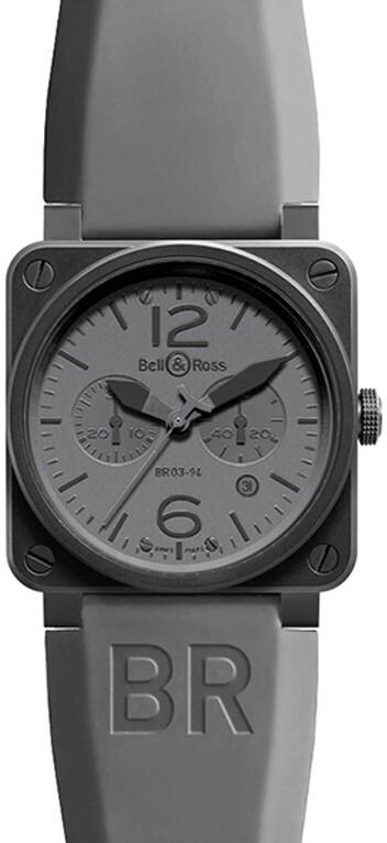 Bell & Ross BR 03-94 Herreklokke BR0394-COMMANDO Grå/Gummi Ø42 - Bell & Ross