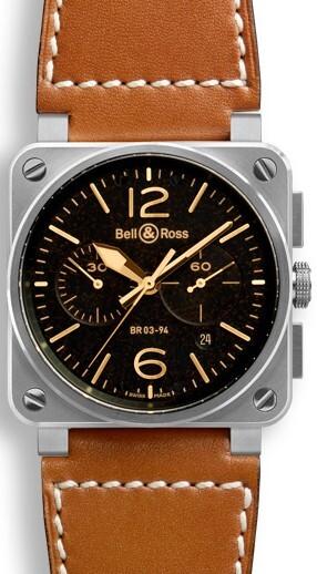 Bell & Ross BR 03-94 Herreklokke BR0394-ST-G-HE-SCA Sort/Lær - Bell & Ross