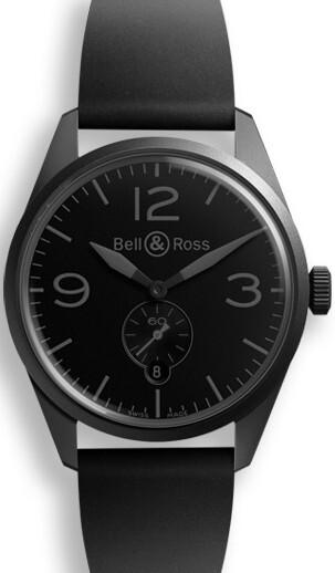 Bell & Ross BR 123 Herreklokke BRV123-PHANTOM Sort/Gummi Ø41 mm - Bell & Ross