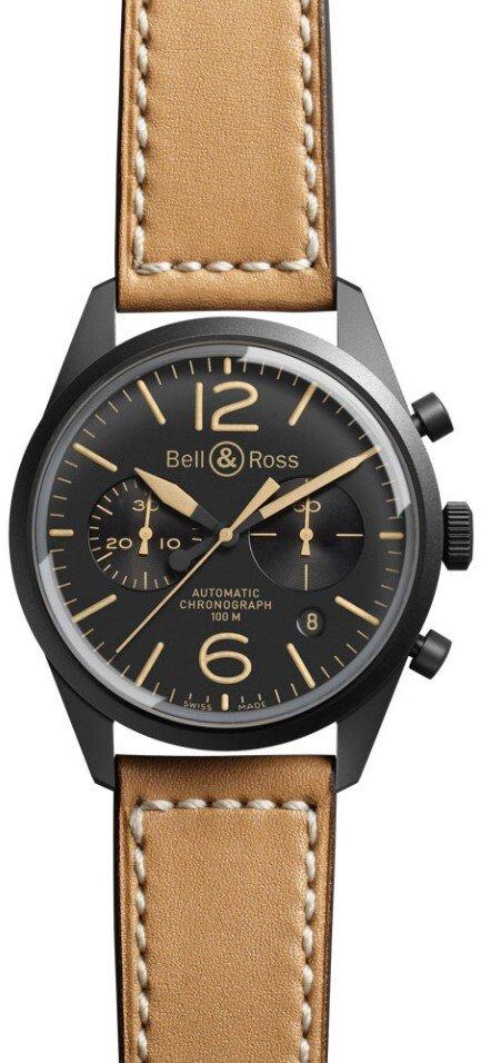Bell & Ross BR 126 Herreklokke BRV126-HERITAGE Sort/Lær Ø41 mm - Bell & Ross