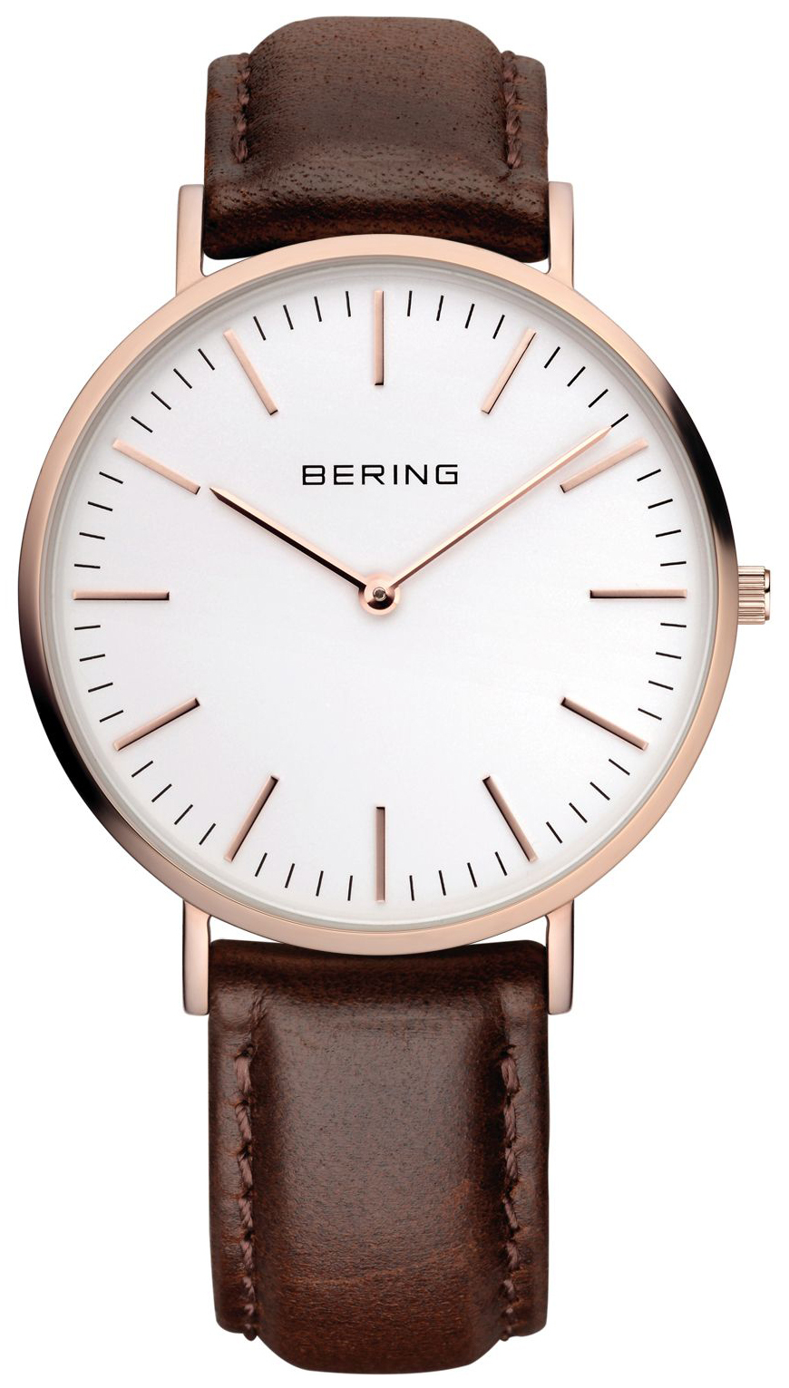 Bering Classic Herreklokke 13738-564 Hvit/Lær Ø38 mm - Bering