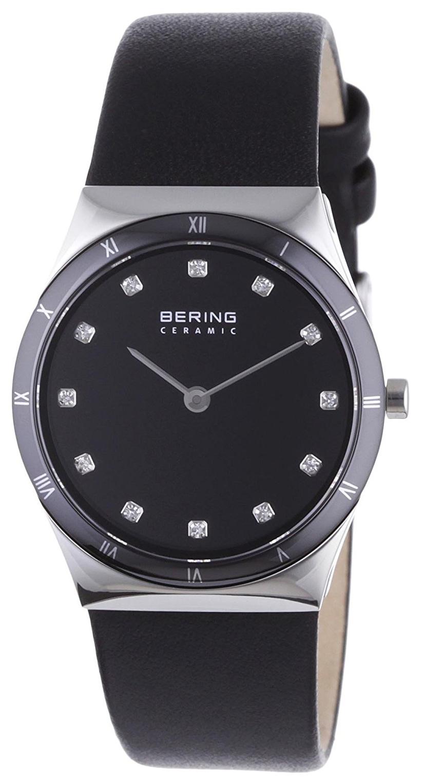 Bering Ceramic Dameklokke 32230-448 Sort/Lær Ø30 mm - Bering