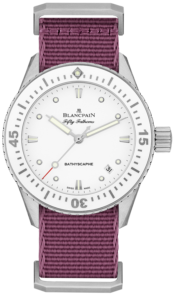 Blancpain Fifty Fathoms Dameklokke 5100-1127-NAVA Hvit/Tekstil Ø38 mm - Blancpain
