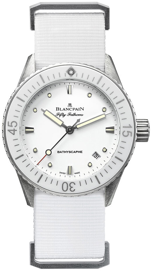Blancpain Fifty Fathoms Dameklokke 5100-1127-NAWA Hvit/Tekstil Ø38 mm - Blancpain
